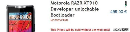 Motorola RAZR con bootloader desbloqueable