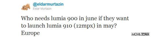 Twitter de Eldar Murtazin donde ofrece detalles del Nokia Lumia 910