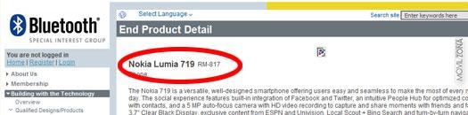 Nokia Lumia 719 en el Bluetooth SIG