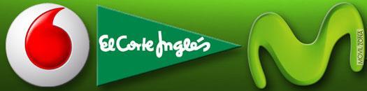 Logotipo de vodafone, el corte inglés y movistar