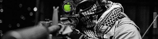 francotirador con logo de apple en la mirilla