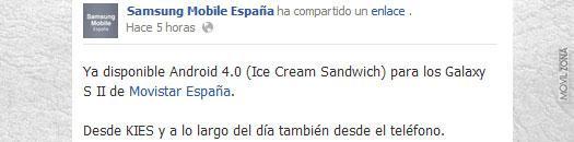 Pagina de facebook de Samsung Mobile España