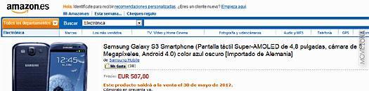 Captura de Amazon con el precio del Samsung Galaxy S3