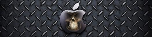 calabera sobre logotipo de Apple y fondo de metal