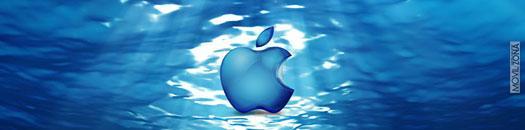 logotipo de apple sobre fondo marino