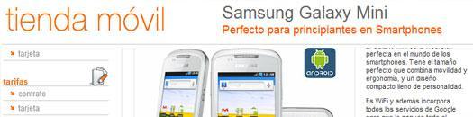 Captura de pantalla de la web de orange donde se vende el Galaxy Mini