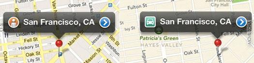 captura de pantalla entre Google Maps y Apple Maps