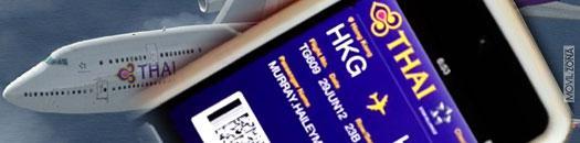 iPhone con tarjeta de embarque de Thai