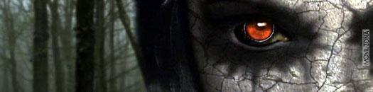 Cara oscura con ojo rojo