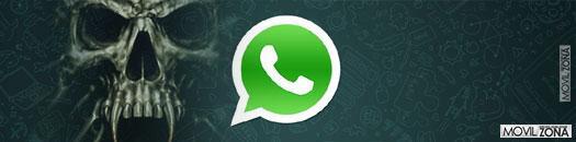 logotipo de whatsapp con calavera de fondo