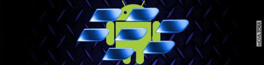 Logotipo de BlackBerry azul sobre fondo de logotipo de Android de color verde