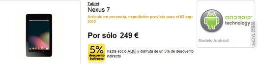 Web de la Fnac con Nexus 7