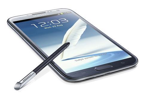 Samsung Galaxy Note 2 en color azul con puntero táctil