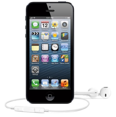 iPhone 5 en color negro con auriculares