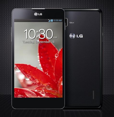 LG Optimus G negro vista frontal y trasera