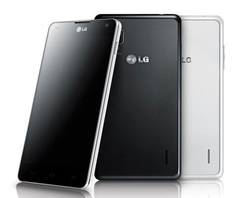 LG Optimus G negro vista frontal, trasera en color blanco