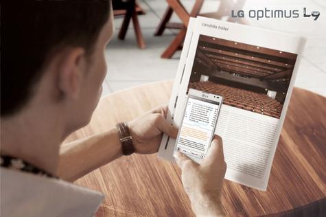 LG Optimus con sistema de escaner activado