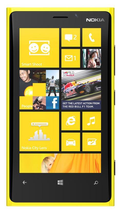 Nokia Lumia 920 vista frontal en color amarillo