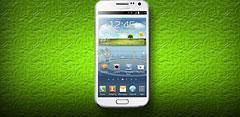 Samsung Galaxy blanco con fondo verde