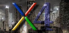 Logotipo de nexus 4 con fondo de Nueva york