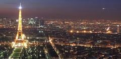 Ciudad de París de noche