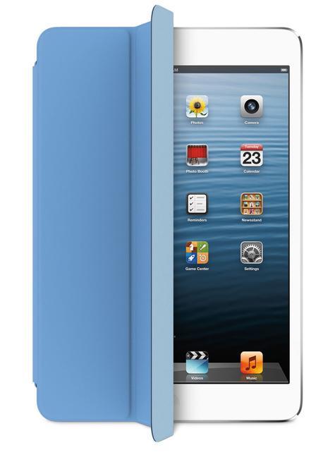 iPad Mini blanco con funda de color azul