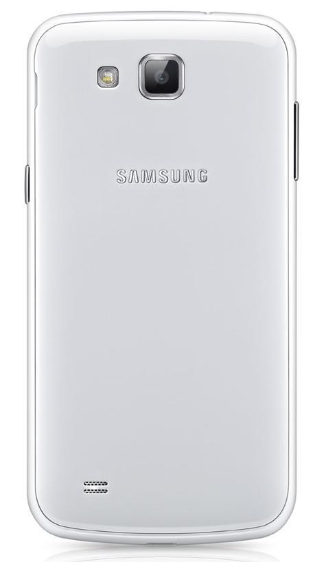 Samsung Galaxy Premier en color blanco, vista trasera