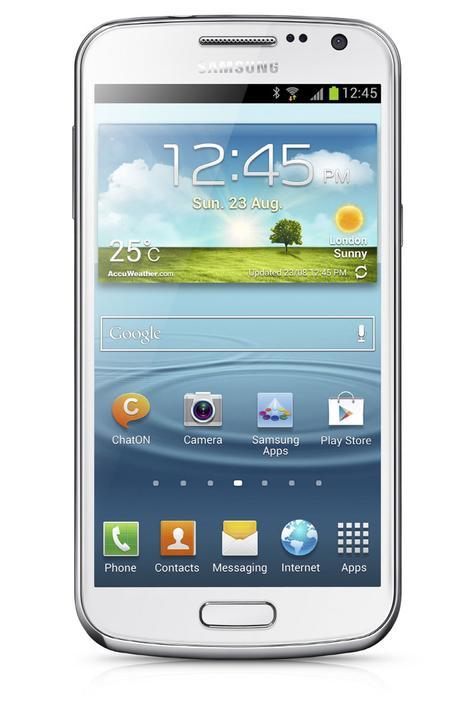 Samsung Galaxy Premier en color blanco, vista frontal