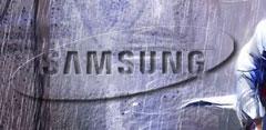 Logotipo de Samsung y de Apple con guerrero medieval