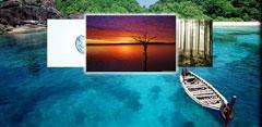 Playa azul con fotos de atardecer