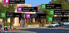 Nokia City Lens con mensajes en pantalla sobre establecimientos
