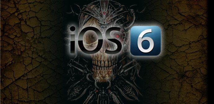 Logotipo de IOS con calavera de fondo