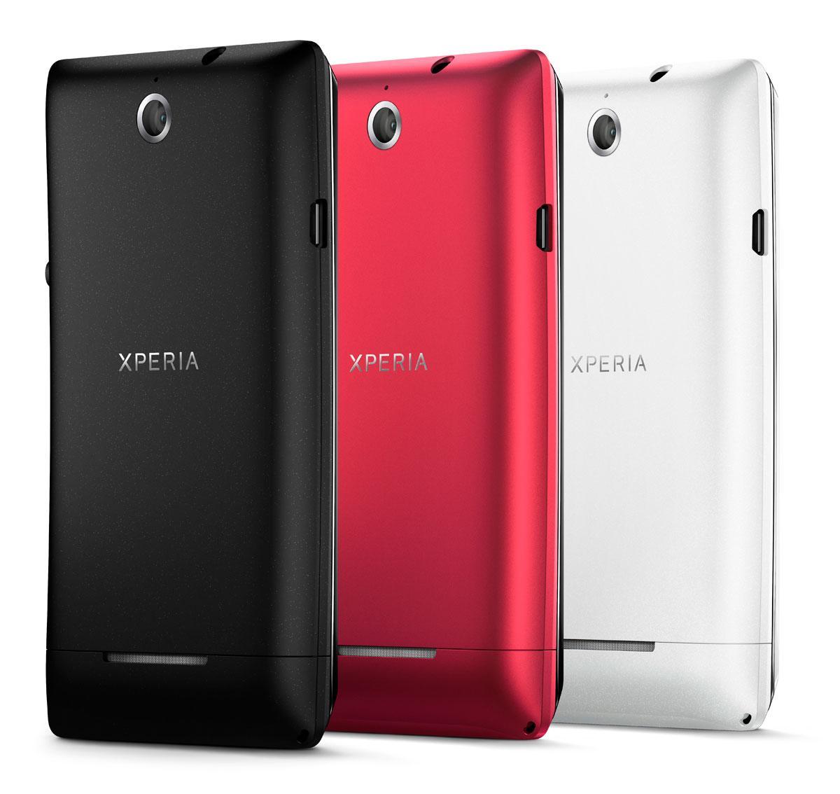 Sony Xperia E en color negro, rojo y blanco