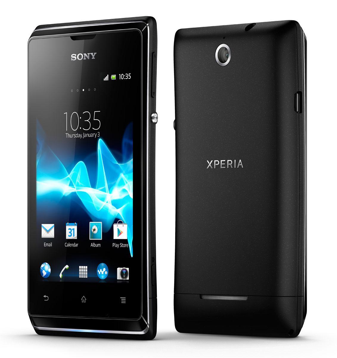 Sony Xperia E vista frontal y trasera en color negro