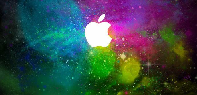 Logo de Apple en fondo de colores