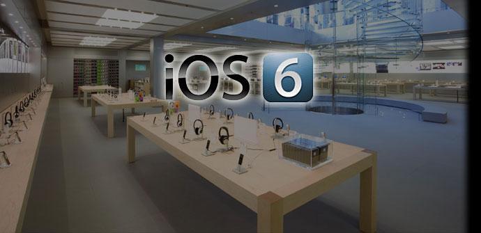 Logotipo de Apple con tienda de IOS al fondo