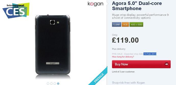 Kogan Agora, el phablet más barato del mercado en el CES
