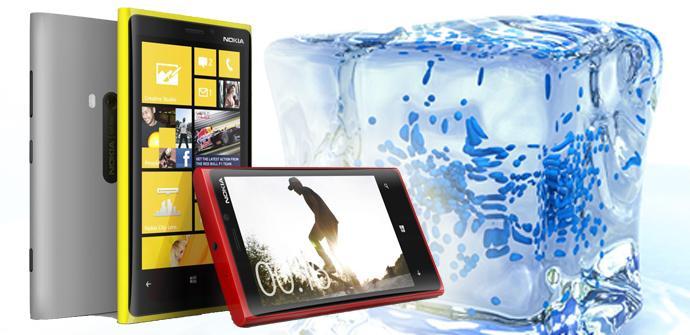 Nokia Lumia 820 con un fondo de hielo