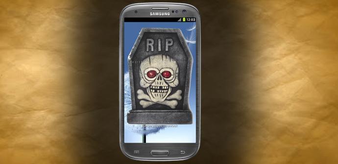 Samsung galaxy S3 con lápida por muerte súbita
