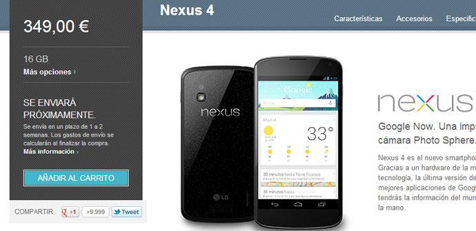 El teléfono Nexus 4 de Google de nuevo a la venta