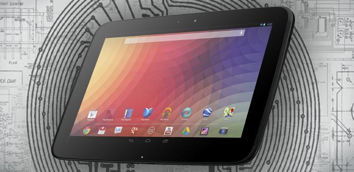 Google Nexus 10 con fondo impreso