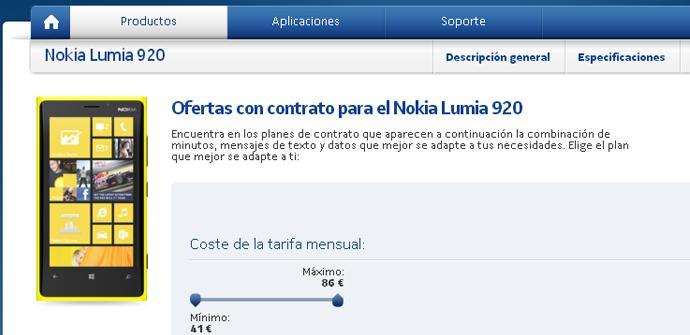El Nokia Lumia 920 con Vodafone