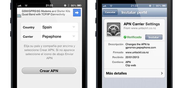 Crea una APN para tu iPhone