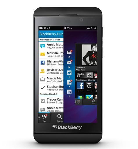 BlackBerry Z10 negro vista frontal