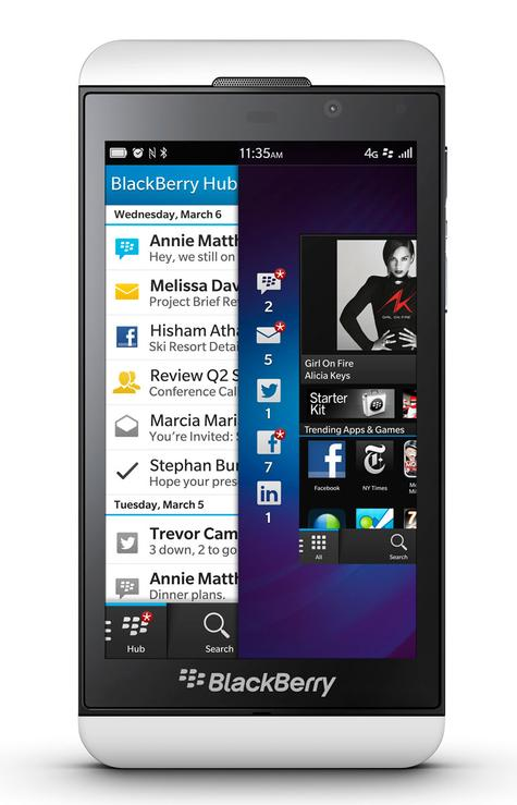 BlackBerry Z10 blanco vista frontal