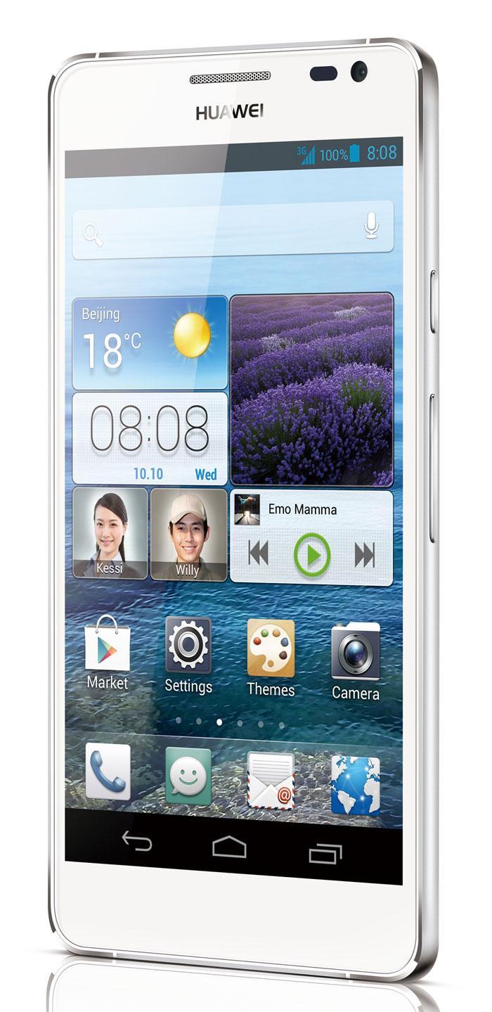 Huawei Ascend D2 en color blanco vista lateral