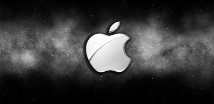 Logotipo de Apple en fondo estrellado
