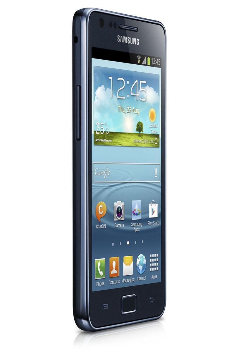 Samsung Galaxy S2 Plus de color negro, vista lateral