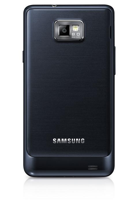 Samsung Galaxy S2 Plus de color negro, vista trasera