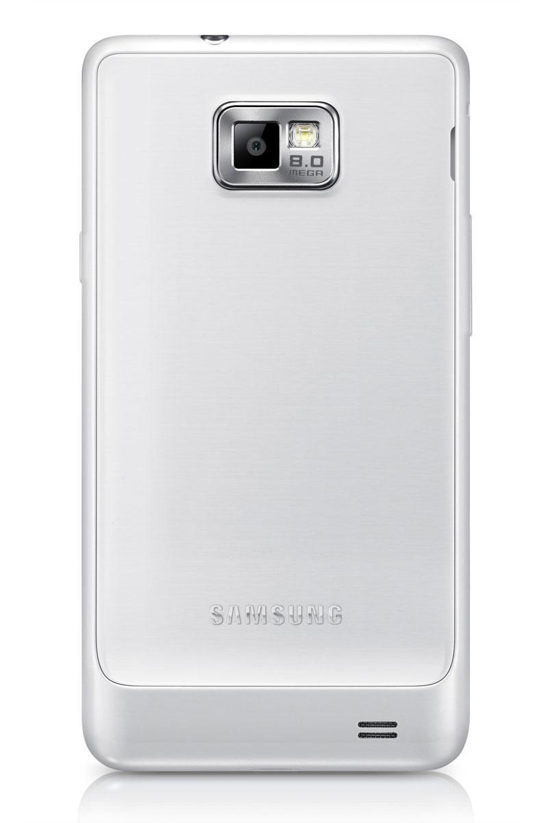 Samsung Galaxy S2 Plus de color blanco, vista trasera